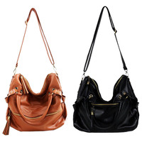 Tassel Leather Handbag Cross Body Shoulder Bag &handbag