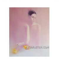 Big Woman Art Print - Purple Dance - Big Canvas Art - Lilac Ballerina Art - Dance Print-Female Figure-Woman Print of  Oil Art by Yuri Pysar