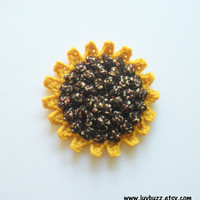 Large Sunflower Applique crochet set of five, MADE TO ORDER.