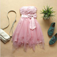 Cute Bowknot Pearl  Dress
