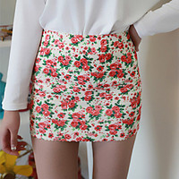 Flower Elastic Mini Skirt