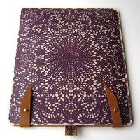 Leather iPad / kindle 2or3 case  lace design by tovicorrie on Etsy [sold]