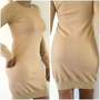 Ralph Lauren Knit Sweater Dress Size M Beige Sexy Form Fitting Dress