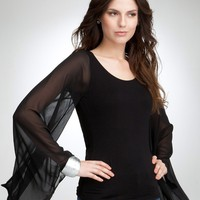bebe Sheer Chiffon Kimono Sleeve Top