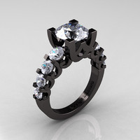 Modern Vintage 14K Black Gold 3.0 Carat White Topaz Designer Wedding Ring R142-14KBGWT