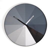 Shades of Gray Pie Clock:  Ultra Thin Wall Clock