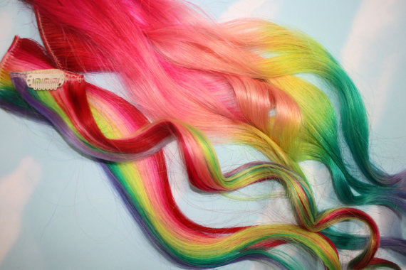Backorder Rainbow Human Hair Extensions Colored by Cloud9Jewels