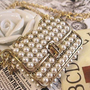 Antique Bronze Vintage Style Pearl Purse Necklace