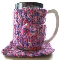 Mug Cosy & Coaster Set. Large. Pinks and Purples