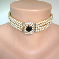 Pearl Bridal Choker, Pearl And Rhinestone Choker, Wedding Jewelry