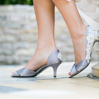 Wedding Heels - Grey/Silver Wedding Shoes, Bridal Shoes with Ivory Lace. US Size 9