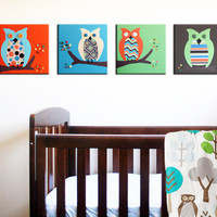 Owl canvas nursery art Baby nursery canvas art Owl by Wallfry