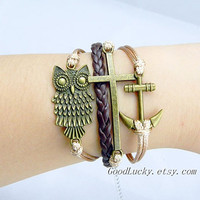 Unisex Simple fashion ancient bronze Owl,Cross and Anchor leather bracelet--Champagne wax rope and brown leather braided bracelet