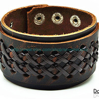 Cuff Brown Leather Bracelet  mens bracelet cool bracelet jewelry bracelet bangle bracelet  cuff bracelet 2254S