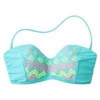 Xhilaration Junior&#x27;s Bandeau Swim Top w/ Embroidered Detail -Blue