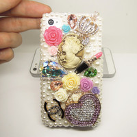 CLEAR OUT Vans Lady w/heart, lipstick Floral Bling Rhinestone Phone Cover Case for iPhone 4g, 4s,4g