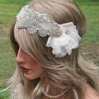 Vintage Inspired Rhinestone Bridal Headband, Wedding Headpiece by FancieStrands