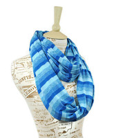 Blue Striped Infinity Scarf Striped Aqua Color Block