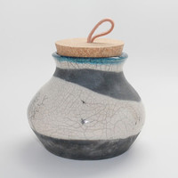 Raku Canister with a Cork Lid