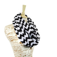 Infinity Scarf Chevron Black and White Circle Jersey Wide