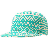 Neff Girls Inca Green &amp; White Tribal Print Snapback Hat