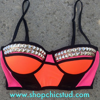 Studded Bustier Bra Top - Pink &amp; Orange Color Block - Silver, Gold, or Black Studs