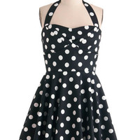 ModCloth 50s Mid-length Halter A-line Traveling Cupcake Truck Dress in Black