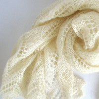 Handknitted Cream Mohair Shawl