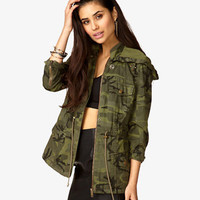 Hooded Spiked Camo Jacket | FOREVER 21 - 2026608297