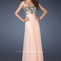 La Femme 18518 Apricot Evening Gown
