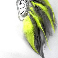 Neon Grey Feather Ear Wrap/Cuff by PLUMEUPHORIA on Etsy