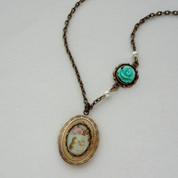 Shabby Chic Kittens Locket in Antique Brass. Whimsy. Light Turquoise. Roses. Pearl. Long Necklace