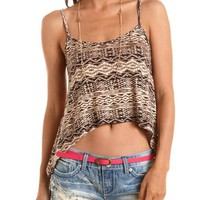 Draped Geo Print Crop Top: Charlotte Russe