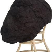 Amazon.com: Cable Beret W/ Fleece Band Lining Black Adult: Clothing