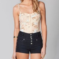 FULL TILT Floral Hook & Eye Corset Top:Amazon:Clothing