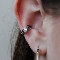 Leaf Ear Cuff in sterling by LStellaJewelry on Etsy