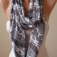 Gray and White Infinity Scarf - Jersey Fabric