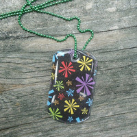 Color Burst Dog Tag Pendant Necklace