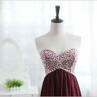 Strapless Sweetheart Wine Red Burgundy  Chiffon Beaded Beading Crystals Wedding Dress Bridesmaid Dress Prom Dress