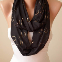 New- Black Infinity Scarf - Jersey Fabric