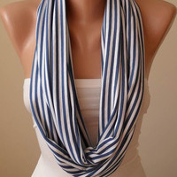 Trendy - Valentines Day - Blue and White Striped Infinity Scarf - Combed Cotton Fabric