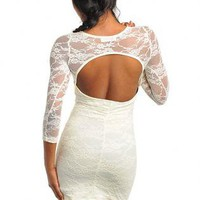 GIVE YOU MY ALL OPEN BACK LACE DRESS.