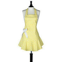 Yellow & White Polka Dot Josephine Apron · Hungrybunny
