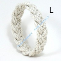 Narrow White Sailor Knot Beach Bracelet Large | MysticKnotwork - Jewelry on ArtFire