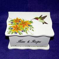 Recipe Box Wood Recipe Card Box Wooden Recipe BOX Hand Painted Custom Personalized Recipe Box Hummingbird Victorian Floral