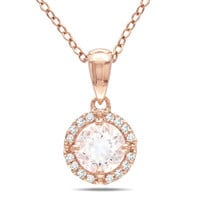 "6.0mm Morganite and Diamond Accent Frame Pendant in 10K Rose Gold - 17"" - View All Necklaces - Zales"