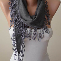 Gray pashmina scarf - Valentine's Day - Pashmina Scarf in Gray with Trim Edge
