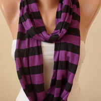 Purple and Black Striped Infinty Scarf  - Circle -  Loop Scarf - Combed Cotton Fabric