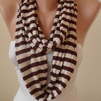 Brown and Beige Striped Infinty Scarf  - Circle -  Loop Scarf - Combed Cotton Fabric