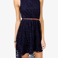 Floral Lace Dress w/ Skinny Belt